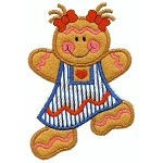 Dancing Gingerbread Girl Applique Design